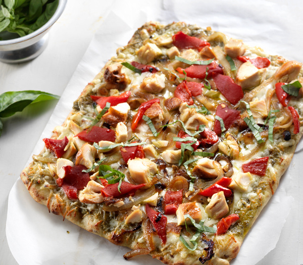 Roasted Chicken & Pesto Pizza